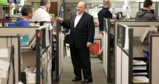 Keith Moyer in the Review-Journal newsroom shortly after arriving February. Review-Journal photo.