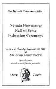 The program for the 1998 induction ceremony. Mark Twain wasn't really there.